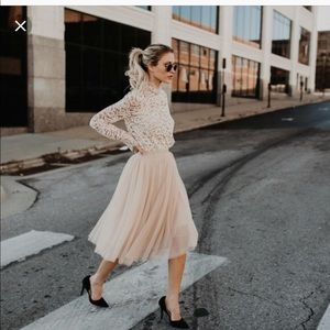 Vici Bradshaw tulle skirt and lace top!